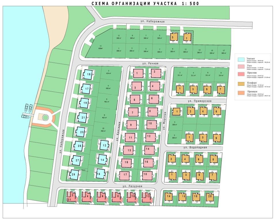 Схема коттеджного поселка